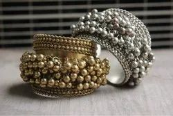 Brass And Silver Oxidised Casual Oxidised Brass Bangle