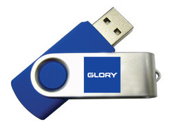 Metal Blue And White USB Drive