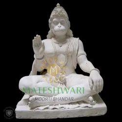 White Marble sitting hanuman Statue