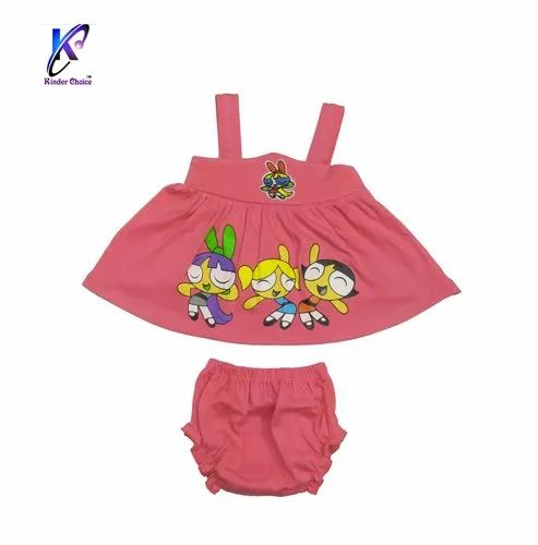 Baby Girl's Cartoon Printed Mini Frock with Pant