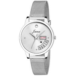 Jainx Silver Day and Date Functioning Shaffer Chain Analog Watch for Women & Girls JW596