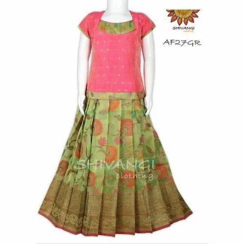 179161b3bd 1-16 Years Shivangi Clothing AF27GR Chanderi Pattu Pavadai, Rs 1695 ...