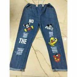 Regular Blue Ladies Printed Jeans, Packaging Type: Packet