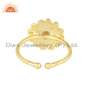 Beautiful Round Design Gold Plated Silver Citrine Gemstone Rings Wholesale