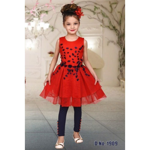 1f3c8c6504813 Red And Navy Blue Party Wear Kids Long Top With Leggings, Rs 650 ...
