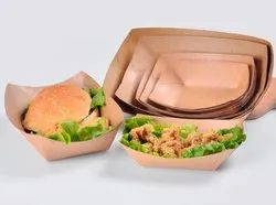 Rectangular Brown Kraft Paper Food Grade Disposable Meal Boat Tray, Packaging Type: Box, Capacity: Standard
