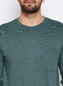 Men Full Sleeve Round Neck Green T-Shirt