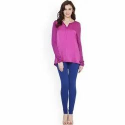 Plain Blue Viscose Leggings, Size: S-XXL