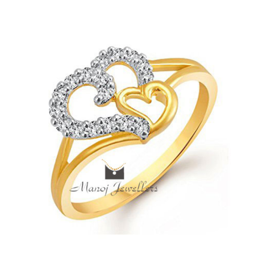 Gold Ring Female Love Design With CZ Stones