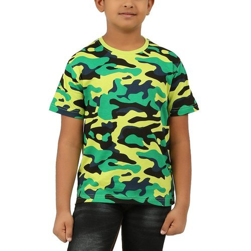 Half Sleeve R-Neck-Lime Green Clifton Boys Army T-Shirt  027840e20f14