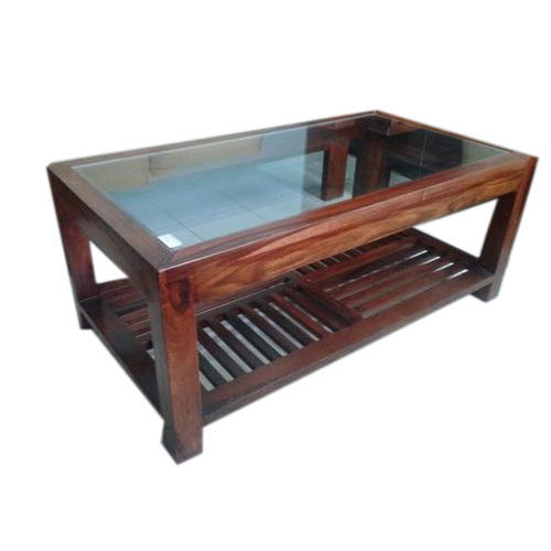 Genial Glass Top Wooden Table