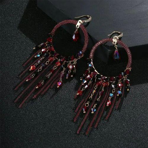 849f5ccb2 Jewels Wholesale Maroon Tassel Earrings at Rs 359 /piece | Fashion ...