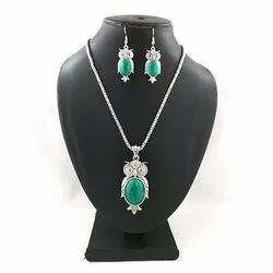 Oxidized Green Stone Necklace With Earrings Set
