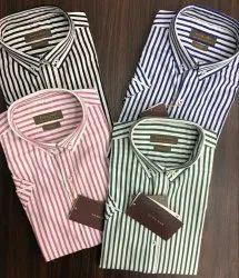 Regular Wear Cotton/Linen Mens Half Sleeve Stripe Shirts