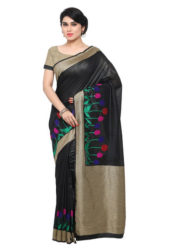 994c12a08a Women's Art Silk Banarasi Saree (Black), Designer Art Silk Saree ...