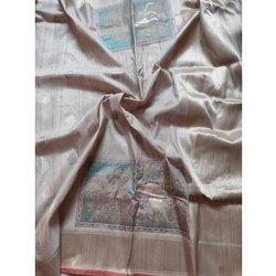 Ethnic Tussar Silk Saree, 6 m (with blouse piece), Packaging Type: Packet