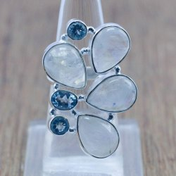 925 Silver Jewelry Rainbow Moonstone And Natural Blue Topaz Gemstone Ring
