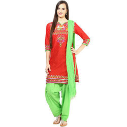 Cotton Red & Green 3/4th Sleeves Patiala Suits