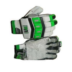 White, Black And Green Batting Hand Gloves