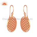 Rose Gold Plated Indian Filigree Design Plain Silver Earrings Wholesaler