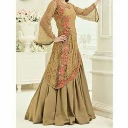 Beige Georgette Ladies Party Wear Dress