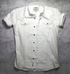 Cotton Collar Neck Mens Double Pocket Shirt, Size: M L XL Xxl