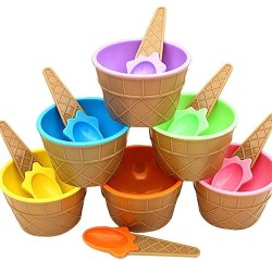 Icecream Cone/ Waffle Design Scoop Cup with Spoon, Size: 200 mL