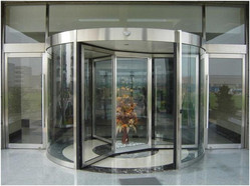 Transparent Bend Glass Revolving Door, For Malls