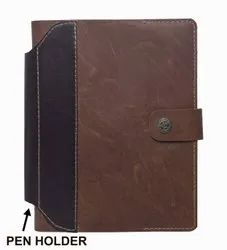 Plan Brown Handmade Paper Diary With Leather Cover And Pen Holder, Size: 6*9 Inch, Size/Dimension: 5*7