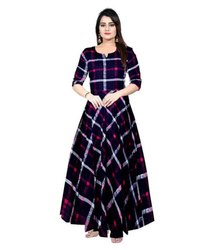 Festive Wear Mutli Color Ladies Rayon Long Gown, Size: Free Size ( M To Xxl )