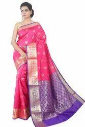 Zari Silk Designer Sarees (MS1677, Pink-Violet), 6 M (with Blouse Piece)
