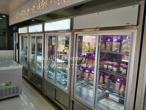 Stainless Steel Silver Commercial Refrigerator Display Equipment