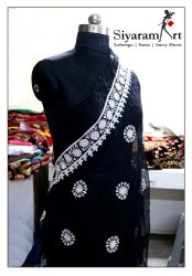 siyaram art Georgette Chikan Sarees, 6.3 M (with Blouse Piece), Machine Made