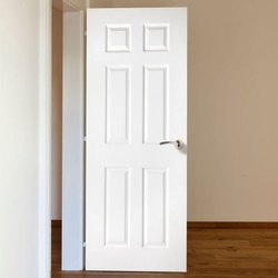 Paintable, Polishable Hinged White wooden Panel Door, For Home, Interior
