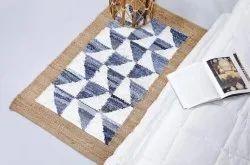 Plain Rectangular Denim Rug Jute Floor Mat, For Bedroom, Mat Size: 3 X 5 Feet