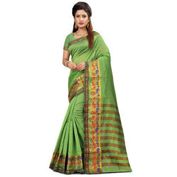 Banarasi Jacquard Saree Chit Pallu Cotton Base