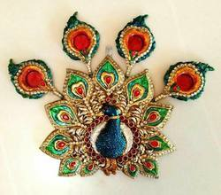 Kundan Peacock Dancing Rangoli with feather Diya