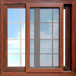 Georgain Bar Wood Finish Aluminum Sliding Window