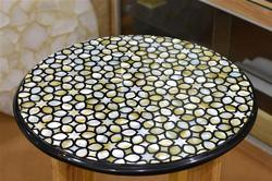 Granite Yellow Mother Of Pearl Inlay Table Tops