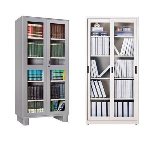 White And Gray Godrej Glass Door Storwel Almirah Or Book Shelf for Office