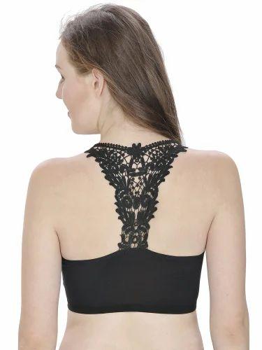 1de406c1d70 90% Nylon & 10% Spandex Plain Black Color Lace Bralette Blouse, Rs ...
