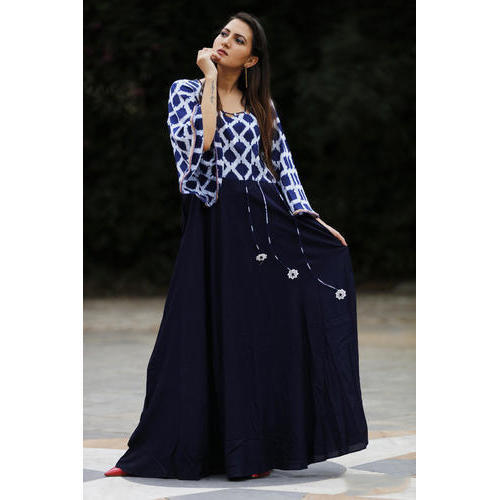 4036c8444a8 Blue, White Printed Comfortable Ladies Long Dress, Size Available: M, L,