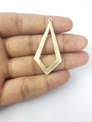 Gold Plated Brushed Open Large Diamond Shaped Charms
