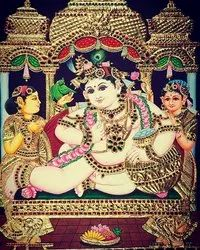 Krishna with Gopi Tanjore Painting