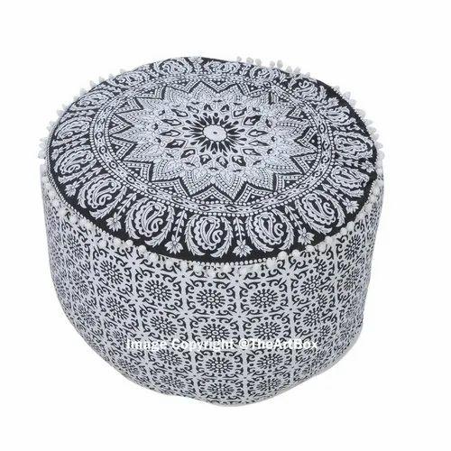 Cotton White Indian Mandala Ottoman Pouf Round Footstool Pouffe Rs 599 Piece Id 21334391473