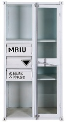 White Industrial Metal Almirah With 3 Drawers And 1 Glassed Door, Container Style