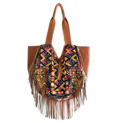 Tan Multi Las Banjara With Leather Fringe Hobo Bag
