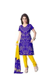 Blue And Yellow Color Fancy Design Gaji Silk Bandhani Suit