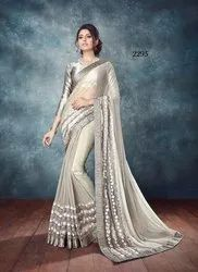 Uniqkart Georgette Ladies Party Wear Saree, 5.5 m (separate blouse piece), Packaging Type: Box