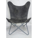 Gray Leather Butterfly Chair